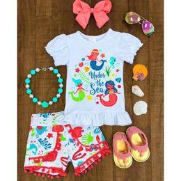 Girls Tassel Shirt Australia - 2019 new children's summer girls short-sleeved fish cartoon pattern shirt + shorts two-piece children's clothing free shipping