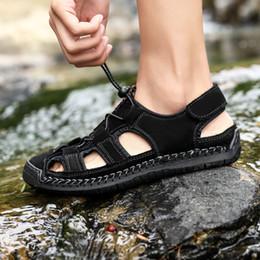 Black Leather Sandals For Men Australia - gladiator sandals for men Summer Shoes Leather Sandals Big Shoes Black Men Roman Casual Wading Plus Size 47 48