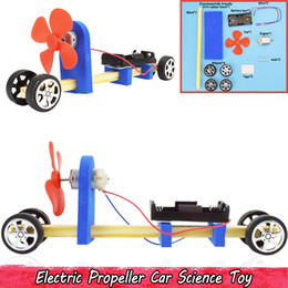 propeller model 2019 - Wood Electric Propeller Car Model Kit Toys Early Learning Educational Science Toys for Kids Handmade Assembly Creative G