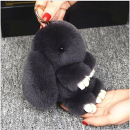 Bunny Keychain Australia - 14cm Cute Pluff Bunny Keychain Rex Genuine Rabbit Fur Key Chains For Women Bag Toys Doll Fluffy Pom Pom Lovely Pompom Keyring