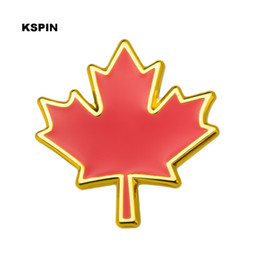 metal maple leaf NZ - Maple leaf Metal Badge Lapel Pin Pins 10PCS Free shipping XY0283