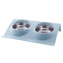 Dog Plates Australia - High Quality Stainless Steel Plastic Double Bowls Non-spill Plate Dog Cat Food Basin Water Feeding Tool Pet Feeder Q190523