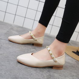 $enCountryForm.capitalKeyWord NZ - Designer Dress Shoes Spring autumn sexy pointed toe low heel pumps women fashion mary jane rivet vintage black casual ladies plus size
