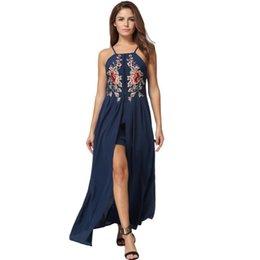 176bd658e1c2 Lace paneL beach online shopping - 2019 Sexy Women Long Split Dress Floral  Embroidery Applique Boho