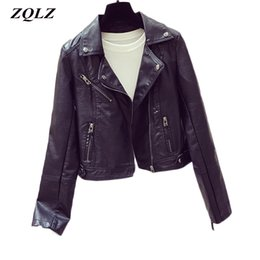 225ab8f213e Zqlz Spring Autumn Women Faxu Pu Leather Jacket Women Zipper Balck Pink  Short Coat Motorcycle Biker Ladies Jackets Female