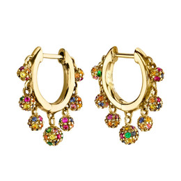 small ball floats Australia - colorful disco ball charm elegance 2019 new women jewelry Small hoops floating ball charms trendy earring Gold