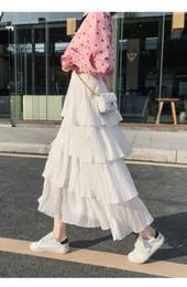 37098a34b4 Korean Skirt Colors UK - Summer Black Mesh Long Ruffled Pleated Skirt 2019  New Korean Version
