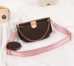 Venta al por mayor de bolsos de diseñador favorito MULTI POCHETTE ACCESORIOS monedero de tres piezas de estilo L monederos de las mujeres del bolso del bolso totalizadores de cuero verdaderos