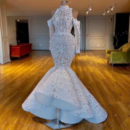 Discount dubai wedding mermaid dress Luxurious Real Images South African Dubai Mermaid Wedding Dresses High Neck Beaded Crystals Bridal Dresses Long Sleeves