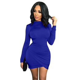 TurTleneck dresses plus size online shopping - Dress Women Sexy Club Sheath Solid Turtleneck Dresses Autumn Woman Party Night Dress Plus Size S XL