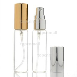 gold perfume bottle atomizer NZ - 10MLMini Clear Glass Perfume Spray Bottle Travel Refillable Empty Cosmetic Water Atomizer Bottles Glass Sprayer Pump Bottles Gold   Silver