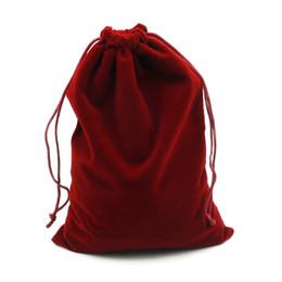 $enCountryForm.capitalKeyWord UK - 2pcs lot 15x20cm Dark Red Velvet Bag Big Jewelry Bag Bracelet Candy Jewelry Packaging Bags Wedding Drawstring Pouch Gift