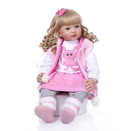 curly doll hair Australia - Curly hair 60CM bebe doll reborn toddler girl doll long curly blonde hair doll soft silicone realistic baby toy Christmas Gift