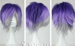 Wig Purple Mixed Australia - New purple gray mixed short straight cosplay Wig + wig cap