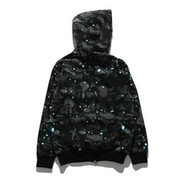 Beige coats online shopping - Brand Mens Hoodie Shark Head Sweater Designer Hoodie Street Hip Hop Night Light Camouflage Hoodie Sweater Coat Couple