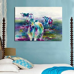 $enCountryForm.capitalKeyWord Australia - 1 Piece The Cow Eats Grass Painting Wall Art Picture Home Decor Living Room Modern Canvas Print No Frame