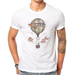 Short Balloon Tops Australia - 100% Cotton Hot Air Balloons Design Men T-shirt Goldfish Printed Male Cool Tops Hipster Style Short Sleeve Casual Tee T Shirts