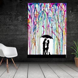 $enCountryForm.capitalKeyWord Australia - 1 Panel Graffiti Canvas Painting colorful Rain under umbrella the lover kiss art canvas prints picture painting No Frame
