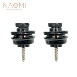 NAOMI 2Pcs Chitarra / Basso Strap Lock Lock Pulsante nero Accessori per chitarra nera Nuovo in Offerta