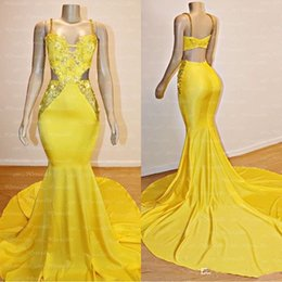 pictures celebrities NZ - 2020 New Masquerade Prom Dresses Sexy Yellow Side Cut Applique Beaded Long Evening Gowns Sweep Train Backless Runway Celebrity Dress