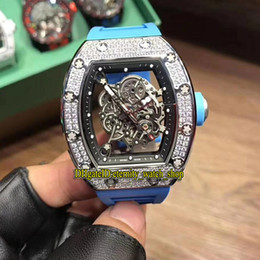 Discount mens gold watches diamonds - New 19 Color Best version RM055 Japan Miyota Automatic Skeleton Dial Silvery Diamonds Case RM 055 Mens Watch Blue Rubber