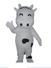 Dairy cow costume online shopping - 2019High quality hot a lovely white dairy cow mascot costume with small eyes for adult to wear