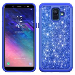 wholesale bling cell phone cases UK - Bling Glitter Shockproof Cell Phone Case Cover For Alcatel 1X Evolve Samsung Galaxy A6 2018 Metropcs TPU Frame +Skin case Oppbag