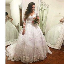 Abiti a maniche lunghe classica Illsion Appli ques Abiti da sposa Corte dei treni Abito da ballo Abiti nuziali 2019 Vestido De Noiva