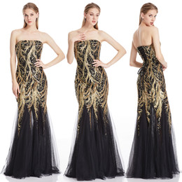 $enCountryForm.capitalKeyWord Australia - Angel-fashion Golden Sequin Party Gown Strapless Splicing Tulle Lace Up Women Long Bodycon Evening Dress 101
