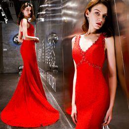$enCountryForm.capitalKeyWord Australia - JaneVini Arabic Red Women Long Dress Evening Gowns Elegant Lace Mermaid Beaded Plus Size V Neck Lace-Up Formal Party Dresses