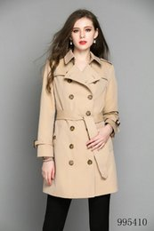 Double Shirt Designs Australia - New women long trench coat jacket khaki fashion Double Breasted Coat Jackets Trench Coats Evening Wear Dresses Blouses Shirts T-shirts