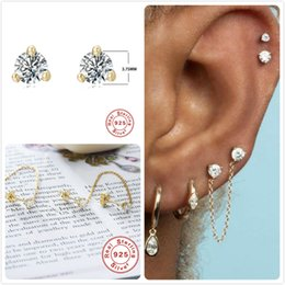 Gold earrinGs for cartilaGe online shopping - 925 Sterling Silver Earrings For Women Gold Small Zircon Earrings Girl Gift Cartilage Ear Bone Earring Female Tassel aretes R5
