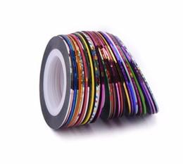 Nail Striping UK - 30pcs lot Multicolor Mixed Colors Rolls Striping Tape Line Nail Art Decoration Sticker Diy Nail Tips Manicure Tools