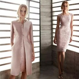 $enCountryForm.capitalKeyWord Australia - Elegant Mother Of The Bride Dresses With Jacket Lace Jewel Neck Knee Length Long Sleeve Mother Suits Wedding Guest Dress Evening Gowns 2019