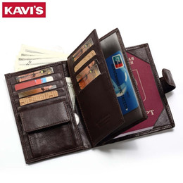 hasp wallet purse UK - Kavis Genuine Leather Wallet Men Passport Holder Coin Purse Magic Walet Portfolio Man Portomonee Mini Vallet Passport Cover Y19052801