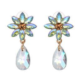 $enCountryForm.capitalKeyWord UK - New Arrival Big Flower Dangle Earring Water Drops Stone Earring Fashion Trending Statement Jewelry For Women Wholesale