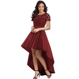 38a7c8912dc5c Party Gowns Royal Blue Lace Bodice Elegant Short Sleeve Hi-lo Dress Robe De  Soiree Vestidos de Festa Longo MS621139