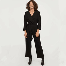 aa145d0c56 2019 women clothing wrist sleeve V-Neck belt solid relaxed jumpsuits rompers  Female fashion casual loose capris ankle-length pants L1041