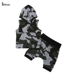 $enCountryForm.capitalKeyWord Australia - Newborn Infant Toddler Kids Baby Boys Cool Sleeveless Hooded Tops T-shirt Camo Hip-Hop Pants Shorts 2PCS Outfits Set Clothes
