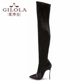 long boots thin heels 2019 - 12cm Thin Heels Sexy Fashion Long Motorcycle Women Over The Knee Boots Autumn Winter Shoes Black Plus Size 42 43 #Y01169