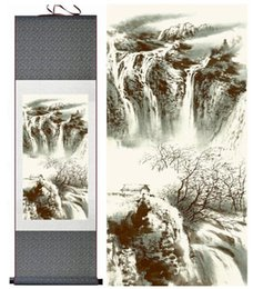 Chinese Water Painting Australia - Landscape Painting Home Office Decoration Chinese Scroll Painting Mountain And Water Paintingprinted Painting
