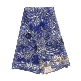 nigeria dresses UK - Best Selling Beaded Net Nigeria Lace Material 2019 Royal Blue Purple French African Lace Fabric Party Cord Lace Fabric For Dress