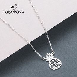 cut coin jewelry UK - Todorova Cut-out Pineapple Necklaces & Pendants Hawaii Tropical Fruit Jewelry Rose Gold Stainless Steel Necklace Women T190626
