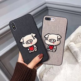 $enCountryForm.capitalKeyWord Australia - Luxury Designer Cartoon Cotton Embroidery Cute Piggy Case for IPhone X XS MAX XR 8 7 I Phone 6 6S PLus Cloth Phone Cases Couple Pig Cover