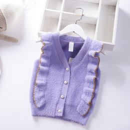 $enCountryForm.capitalKeyWord Australia - 2019 New Autumn Girls Sweater Vest V Neck Baby Princess Cardigan mink velvet knit Vest Spring Kids Knitted Clothes Children Coat