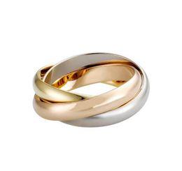 Luxe Titane Acier Bague en or rose d'argent Carter Trois couches Trinity Bagues de femmes filles Anillos bandes de mariage avec sac logo en Solde