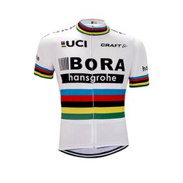 polyester short sleeve shirts Australia - Tour de France pro team 2019 BORA men cycling jersey 80% polyester quick dry Short sleeve bicycling wear pro bike Maillot Ropa Ciclismo