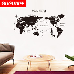 chinese famous paintings Australia - Decorate Home world map cartoon art wall sticker decoration Decals mural painting Removable Decor Wallpaper G-1600
