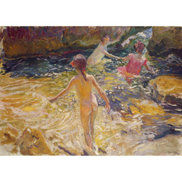 Chinese  Joaquin Sorolla y Bastida paintings The Bath modern landscapes oil on canvas Handmade art Gift manufacturers