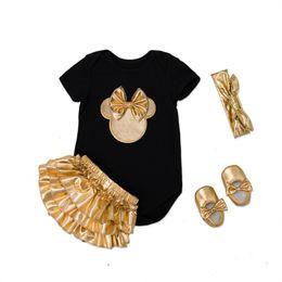 $enCountryForm.capitalKeyWord Australia - 2018 Newborn Infant Black Baby Clothing Sets Cotton Baby Girl Short Sleeves Bodysuit+Gold Ruffles Bloomers+Headband+baby